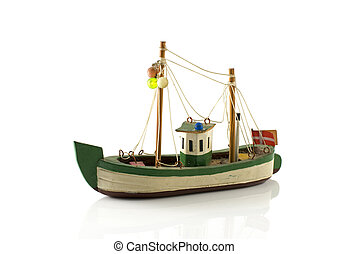 danish toy boat - old danish model fish boat isolated on...