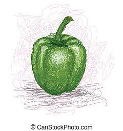 green-bell-pepper - closeup illustration of a fresh green...