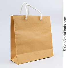used paper bag on gray background