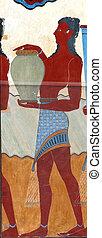 Ancient fresco from Knossos, Crete