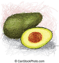 avocado - closeup illustration of a fresh avocado fruit.