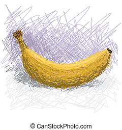 banana - closeup illustration of cavendish banana fruit,...