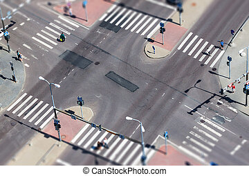 City street traffic and pedestrian crossing - aerial view