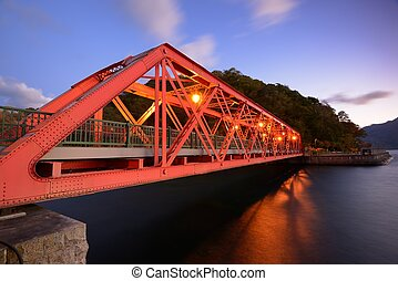 Sansen Bridge in Hokkaido, Japan - Sansen Bridge spanning...