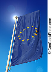 European Union Flag - Vertical European Union flag, waving...