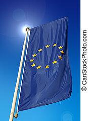 European Union Flag - Vertical European Union flag, waving...