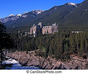 Hotel in mountains, Alberta, Canada - Hotel in the...