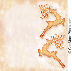 Christmas holiday card, festive background, reindeer decorative border, traditional tree ornament, abstract shiny glowing lights,winter holidays celebration