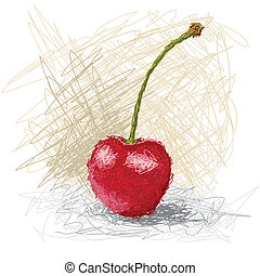 cherry - closeup illustration of a fresh strawberry fruit.