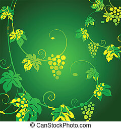 Grape vines green background.