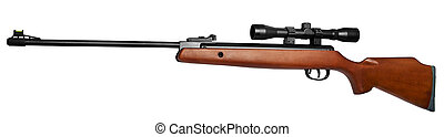 air rifle - Air rifle with an optical sight It is isolated...