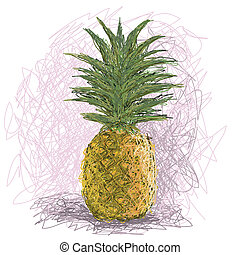 pineapple - closeup illustration of a fresh pineapple fruit