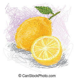 lemon - closeup illustration of a fresh lemon fruit.