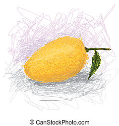 mango - closeup illustration of a fresh mango fruit
