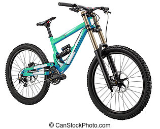 Mountain bike with shock-absorbers on both wheels and disk...
