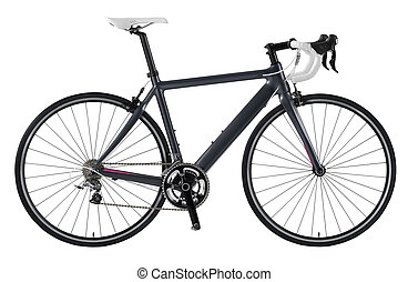 Race road bike isolated on white background.