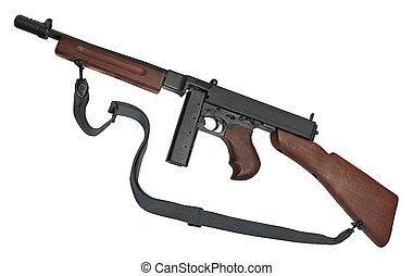 Submachine gun - Thomson's automatic machine is isolated on...