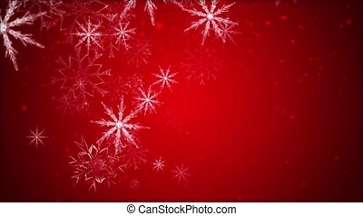 Snowflakes - Large snowflakes are moving across a red...