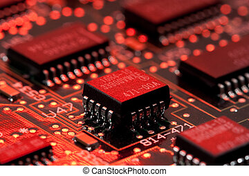 infromation technology computer board with transistor and...