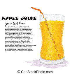 apple juice - closeup illustration of a fresh glass of apple...