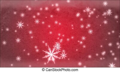 Snowflakes - Large snowflakes are falling against a red...
