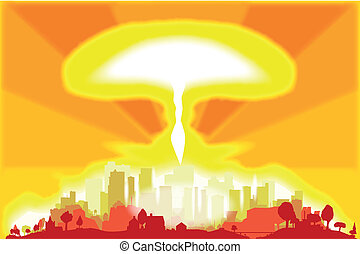 End of the World - A hydrogen bomb blast in a modern city.