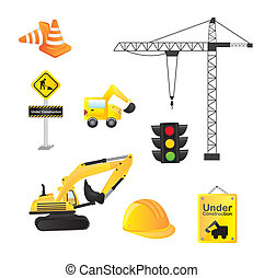 construction icons isolated over white background vector