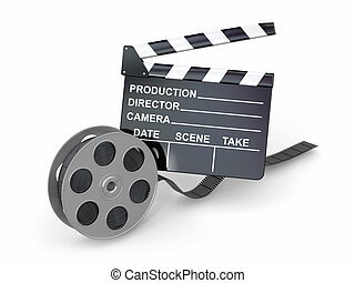 Movie industry Clapperboard and film reel 3d