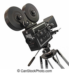 Vintage movie camera. 3d - Vintage movie camera on white...