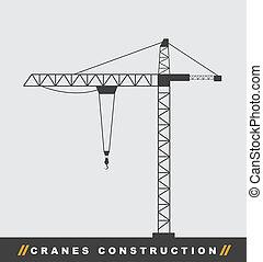 construction crane - silhouettte construction crane tower...