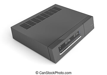 Digital receiver - Black digital receiver on white...