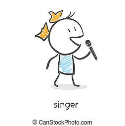 caricatura, menina, cantando, microfone