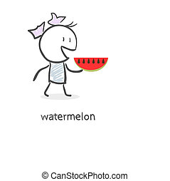 Cartoon girl and watermelon