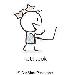 Cartoon girl and laptop