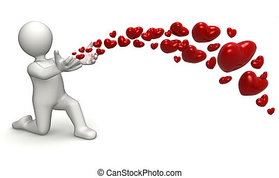 Liberating hearts - Personage 3D Liberating hearts with his...