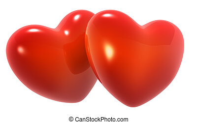 Two red hearts - 3D render two red hearts in white...