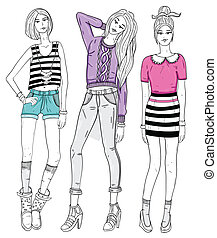 Young fashion girls illustration. Vector illustration....