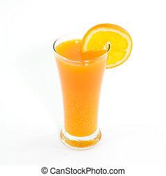 orange juice and slice isolated on white