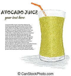 avocado juice - closeup illustration of a fresh glass of...