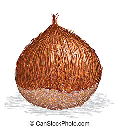 chestnut - closeup illustration of single chesnut isolated...