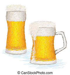 glasses-of-beer - closeup illustration of glasses of cold...
