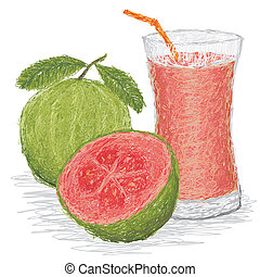 guava fruit juice - closeup illustration of fresh guava...