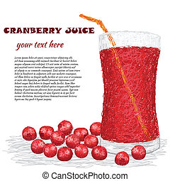 cranberry juice - closeup illustration of group of...