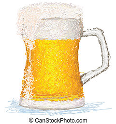 beer - closeup illustration of a glass of cold beer