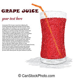 grape juice - closeup illustration of a fresh glass of grape...