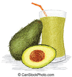 avocado fruit juice - closeup illustration of fresh avocado...