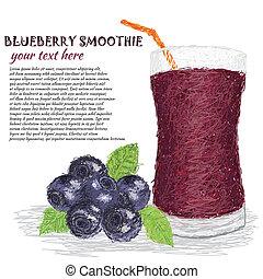 blueberry smoothie - closeup illustration of fresh...