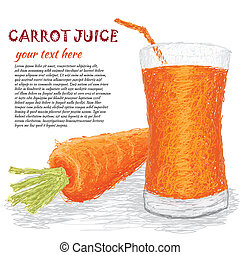 carrot vegetable juice - closeup illustration of fresh...
