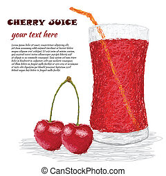 cherry juice - closeup illustration of fresh cherries and...