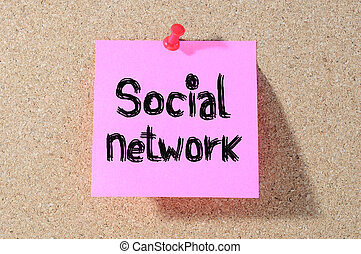 SOCIAL NETWORK sticky notes, postit isolated on  background